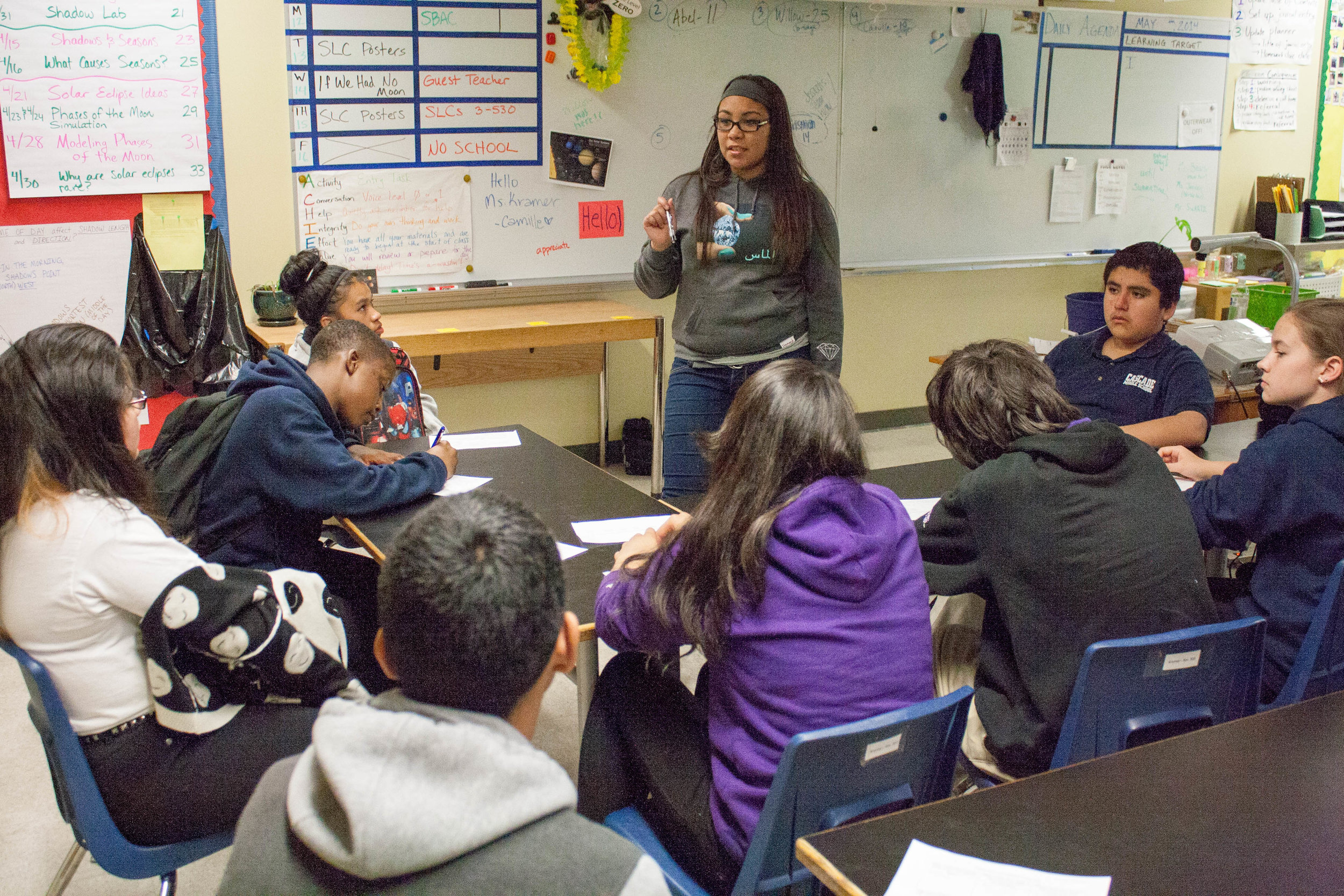 """Marisol is a high school mentor that is apart of the spring transitions team that visits the middle schools. She is facilitating a transitions lesson, """" Everything I Wish I Knew Before High School, """"for the 8th graders, the incoming freshman."""
