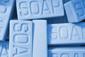 blue piles of soap