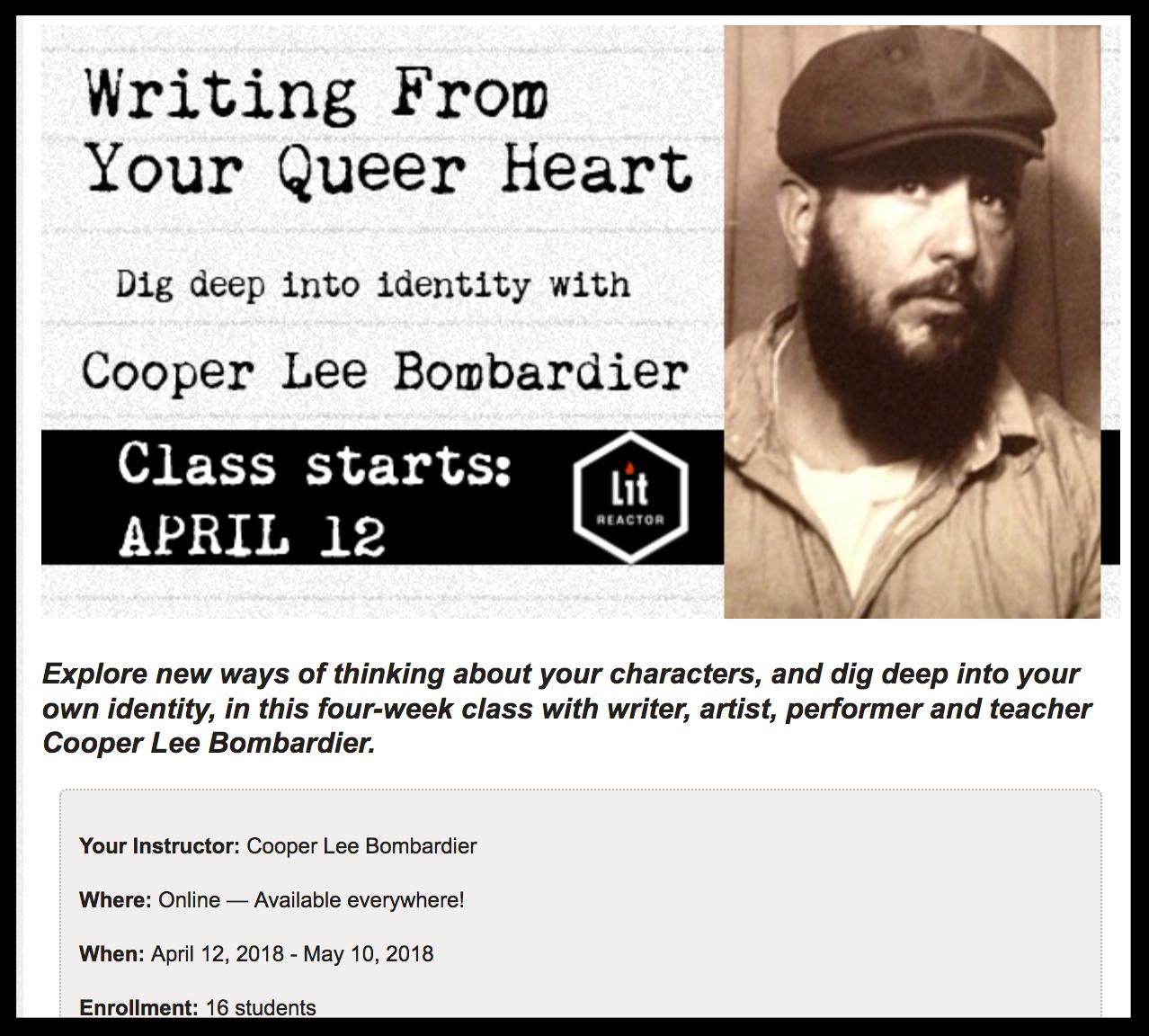 Register Now: 4 Week Online Writing Workshop Starts April 12