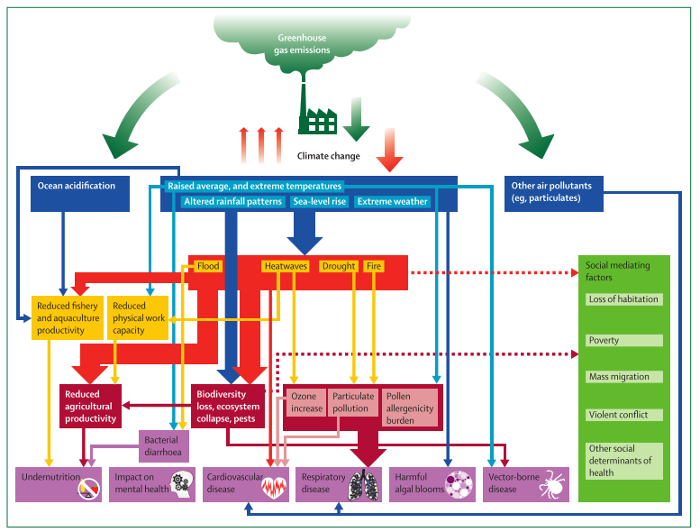 Figure 1: Relationship between health, climate change and greenhouse gas emission(Watts et al., 2015)