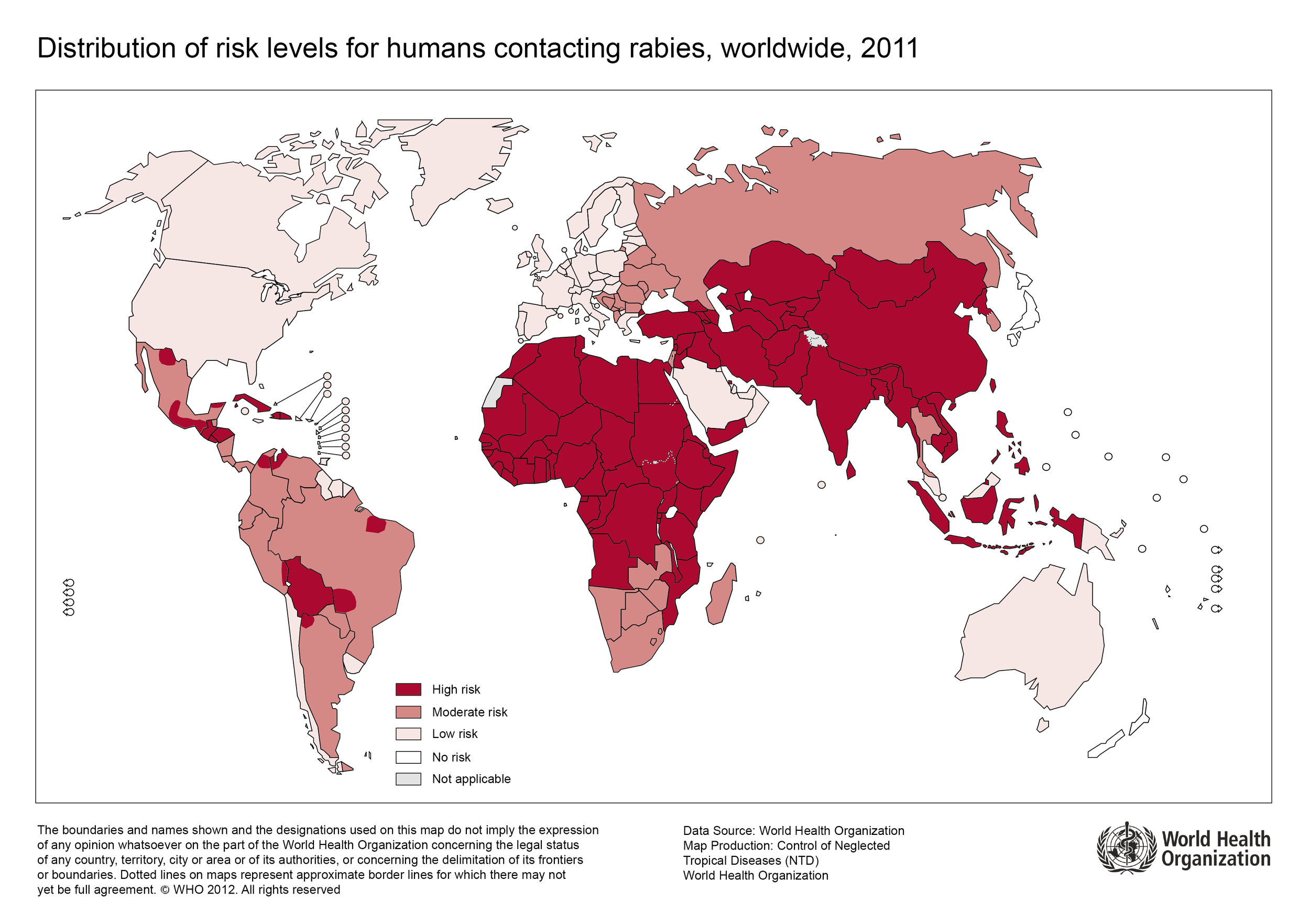 Figure 1.  Worldwide map of rabies indicating level of risk by country, 2011. Courtesy of the World Health Organization.  http://www.who.int/rabies/Global_distribution_risk_humans_contracting_rabies_2011.png?ua=1