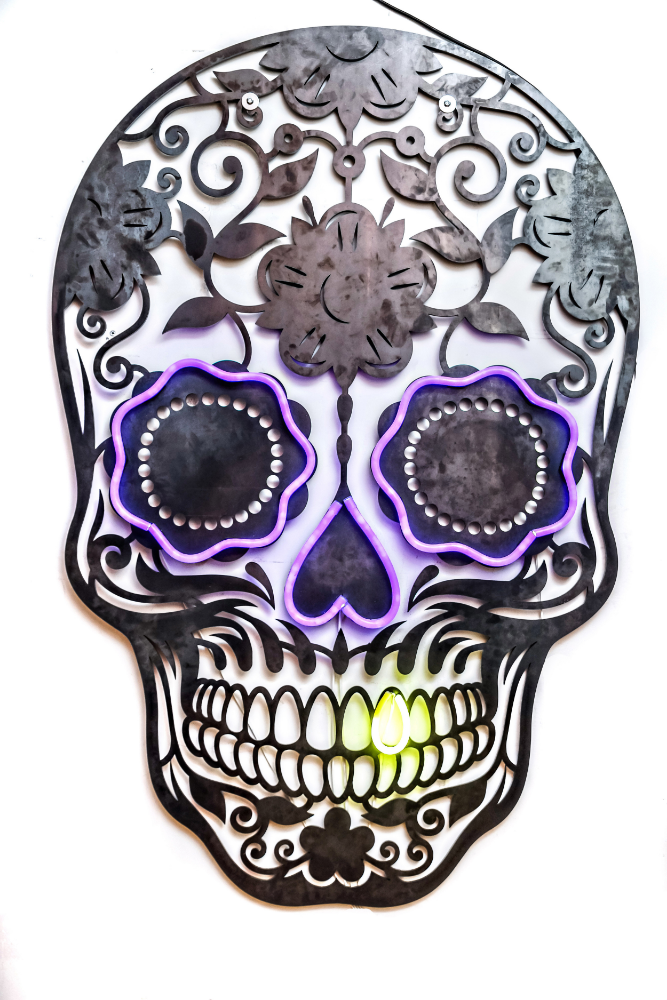 Laser Cut Skull with Neon