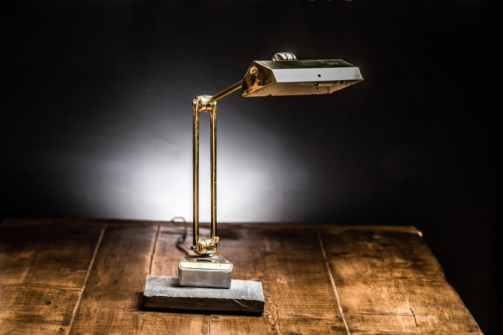 Brass Desk Lamp on Slate Base