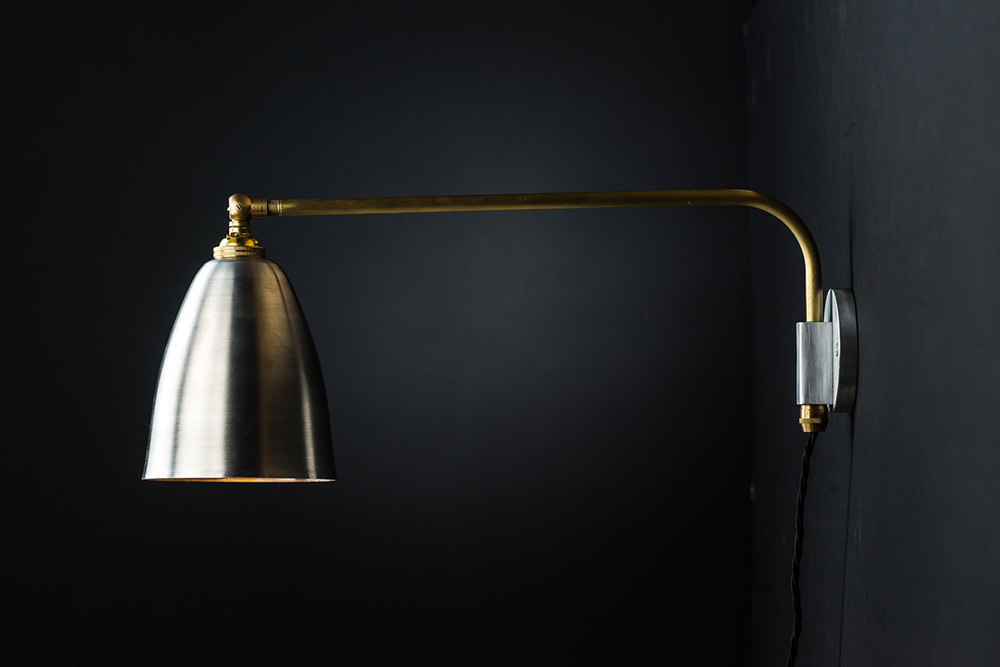 Aluminium and brass armed wall light