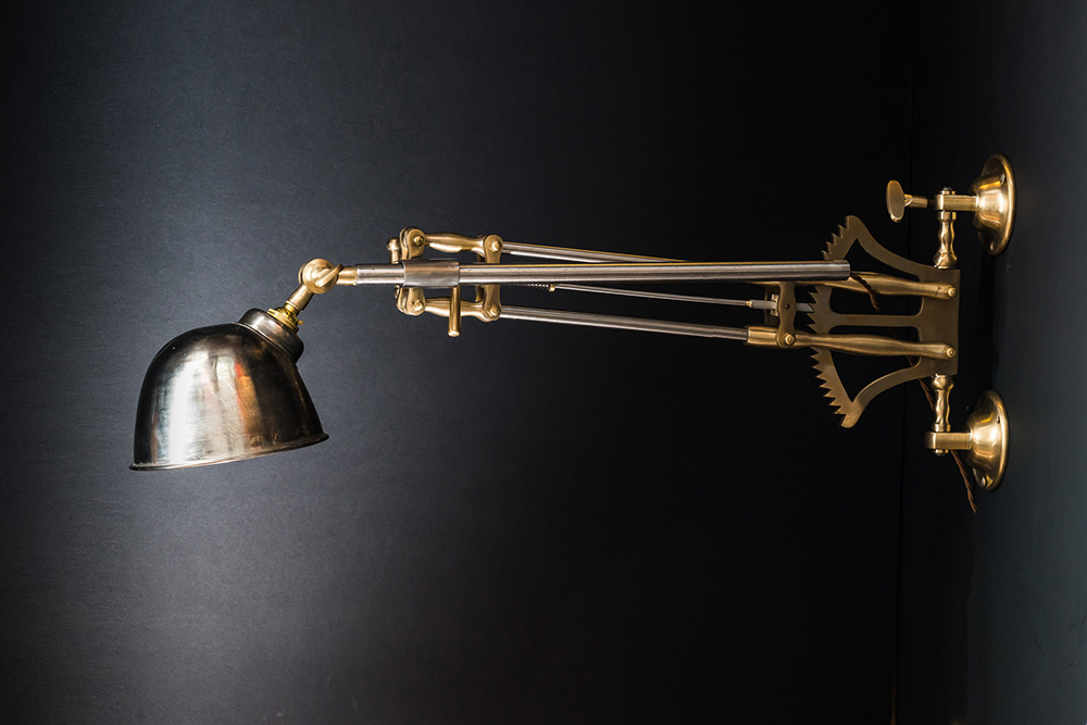 Steel and Brass Ratchet Wall Light
