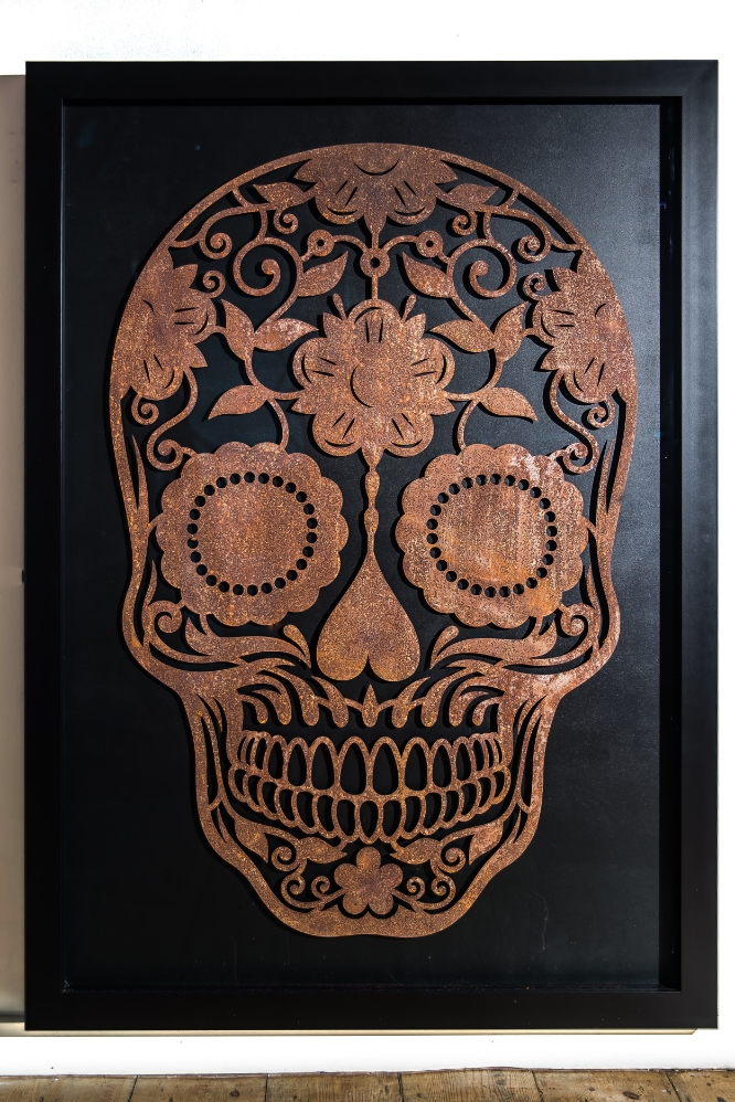 Laser Cut Steel 'Day of the Dead' Skull 04.jpg