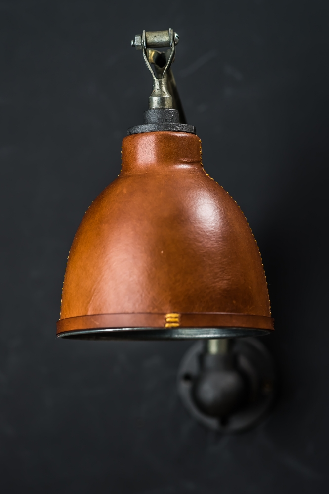 Hand Covered and Stitched Leather Armed Wall Light 04.jpg