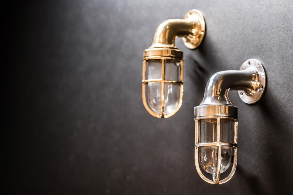 Brass and Aluminium Ship Passageway Wall Lights 02.jpg