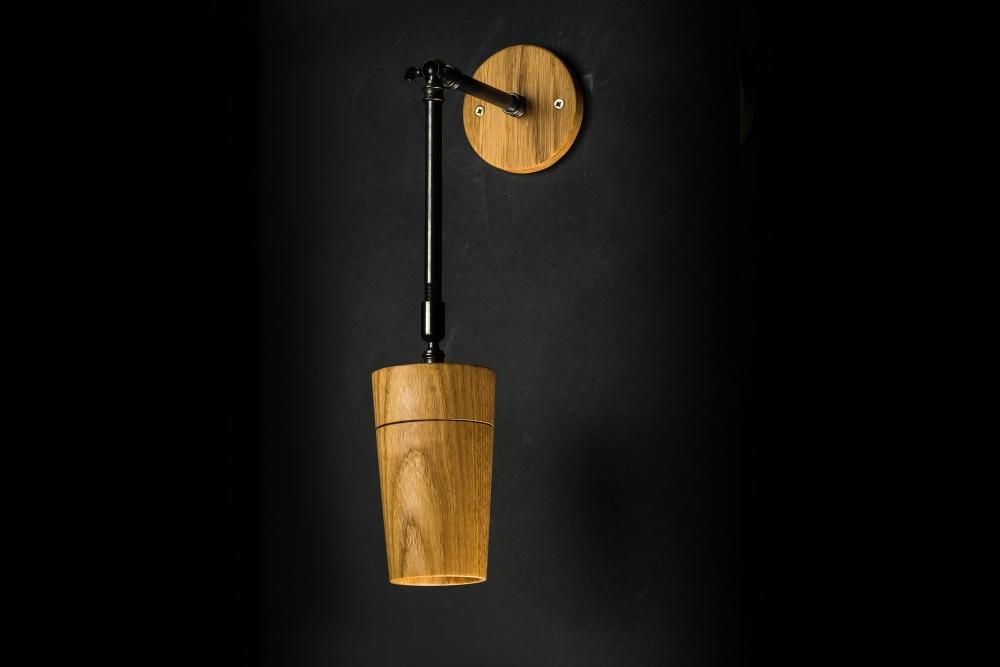 Hand Turned Long Armed Oak Wall Light 02.jpg
