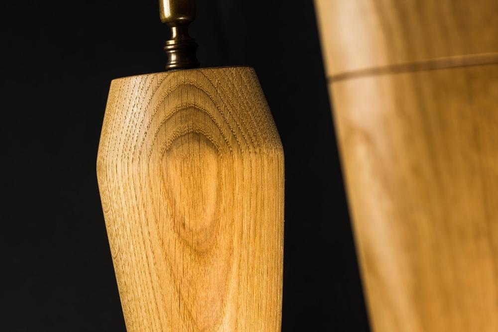 Hand Turned Long Armed Oak Wall Light 05.jpg