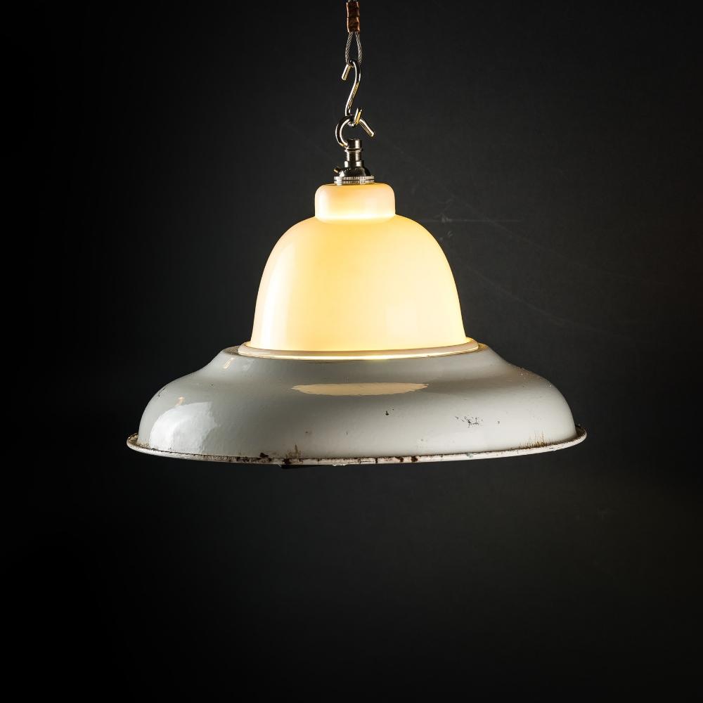 Vintage enamel and bone china pendant
