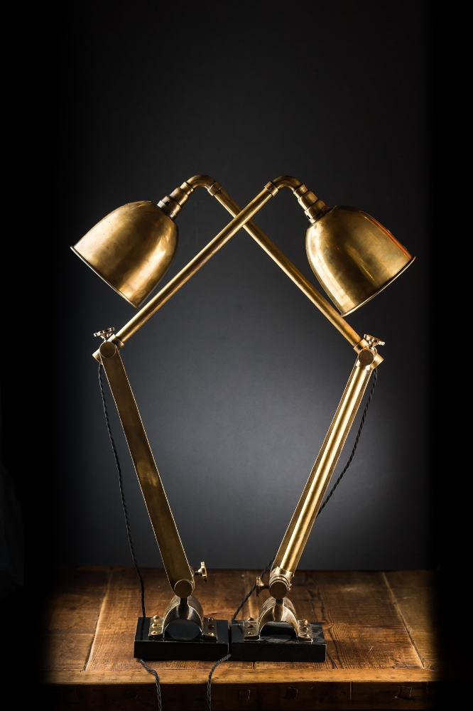 Vintage Articulated Brass Double Desk Lamp