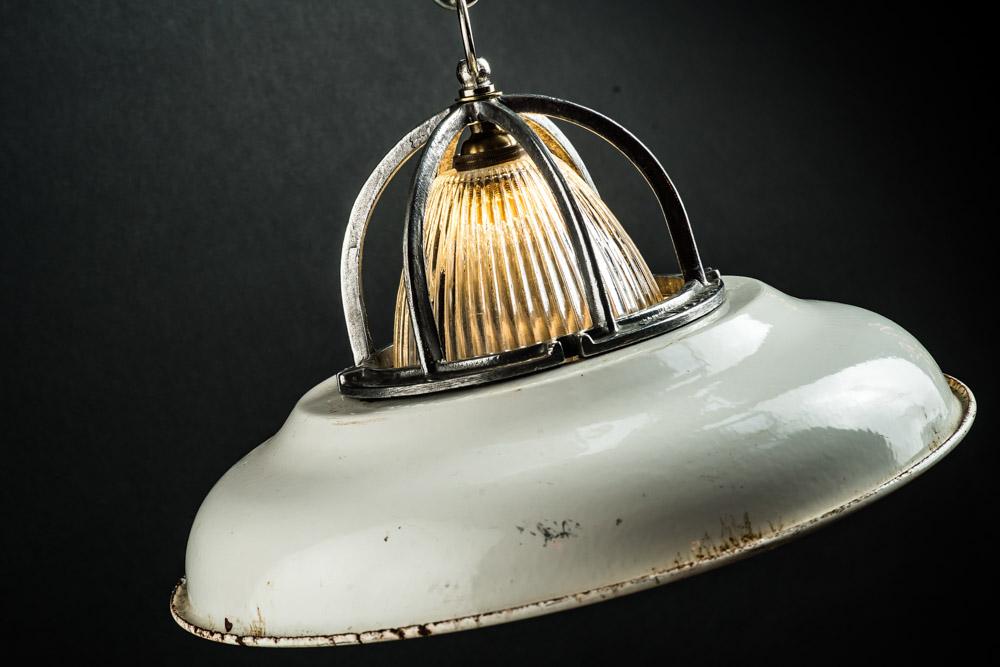 Cast Steel, Holophane Glass and Enamel Pendant