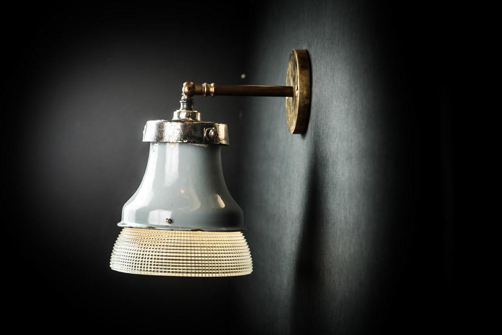 Vintage Holophane Glass and Enamel Wall Light