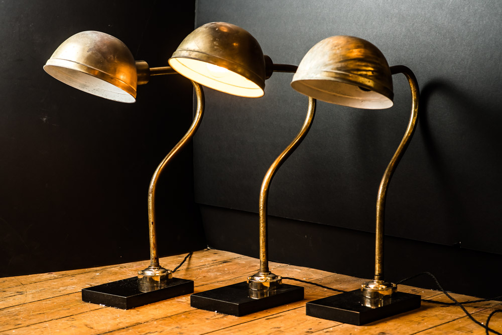 Vintage Bronzed and Black Granite Floor/Desk Lamp