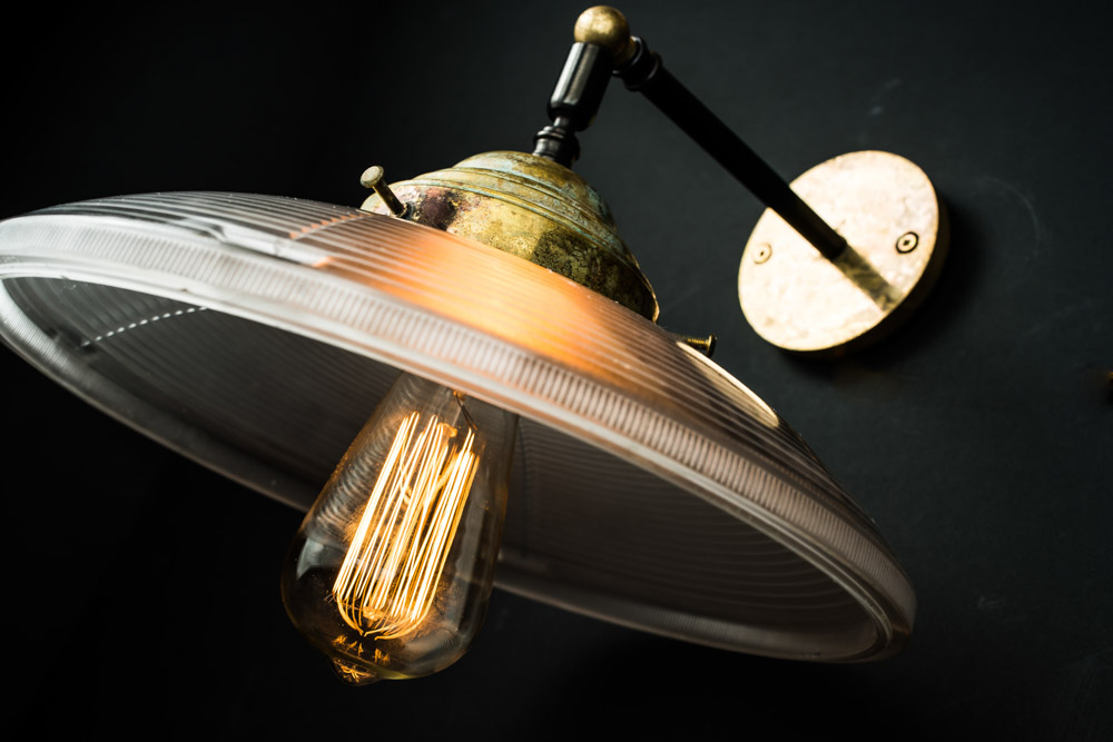 Vintage Holophane and Aged Brass Wall Light