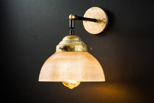 Vintage large holophane and aged brass wall light02.jpg