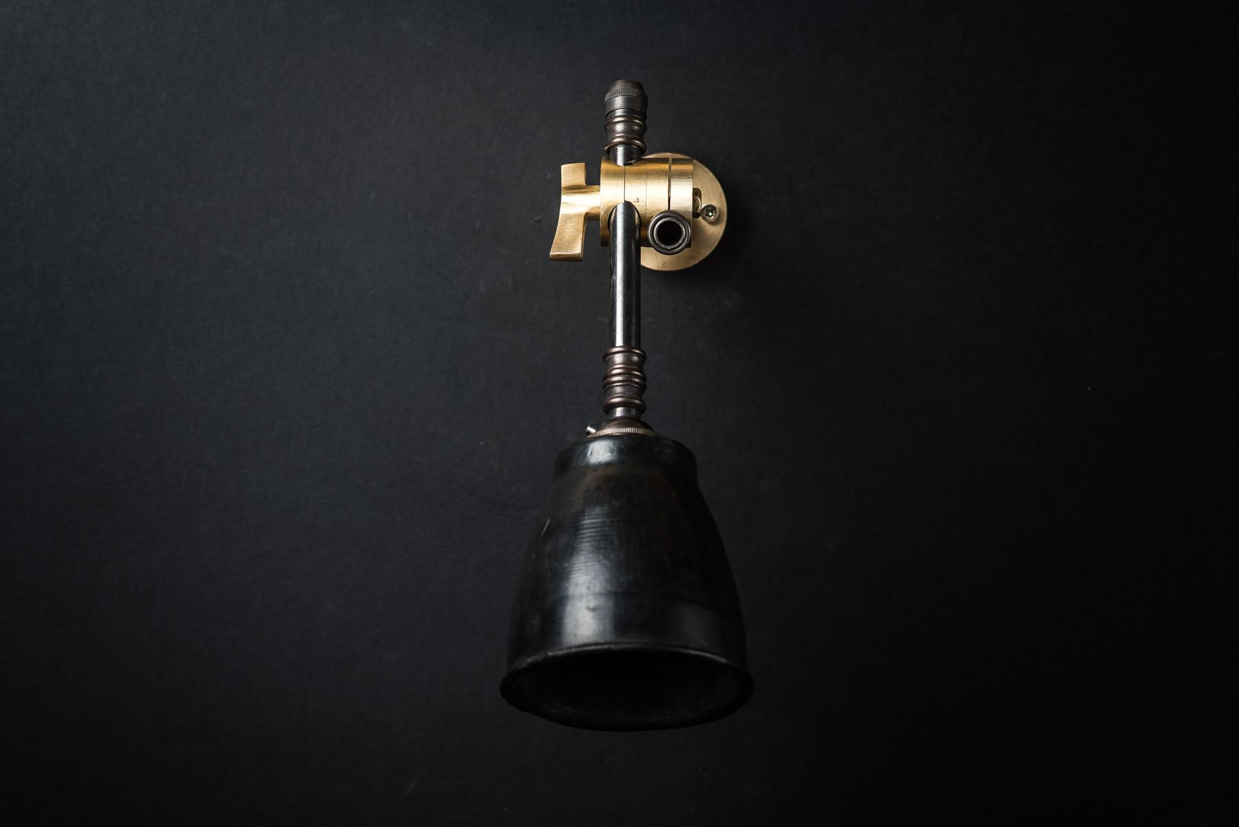 Brass, Bronze and Vulcan Black Stone Adjustable Wall Light