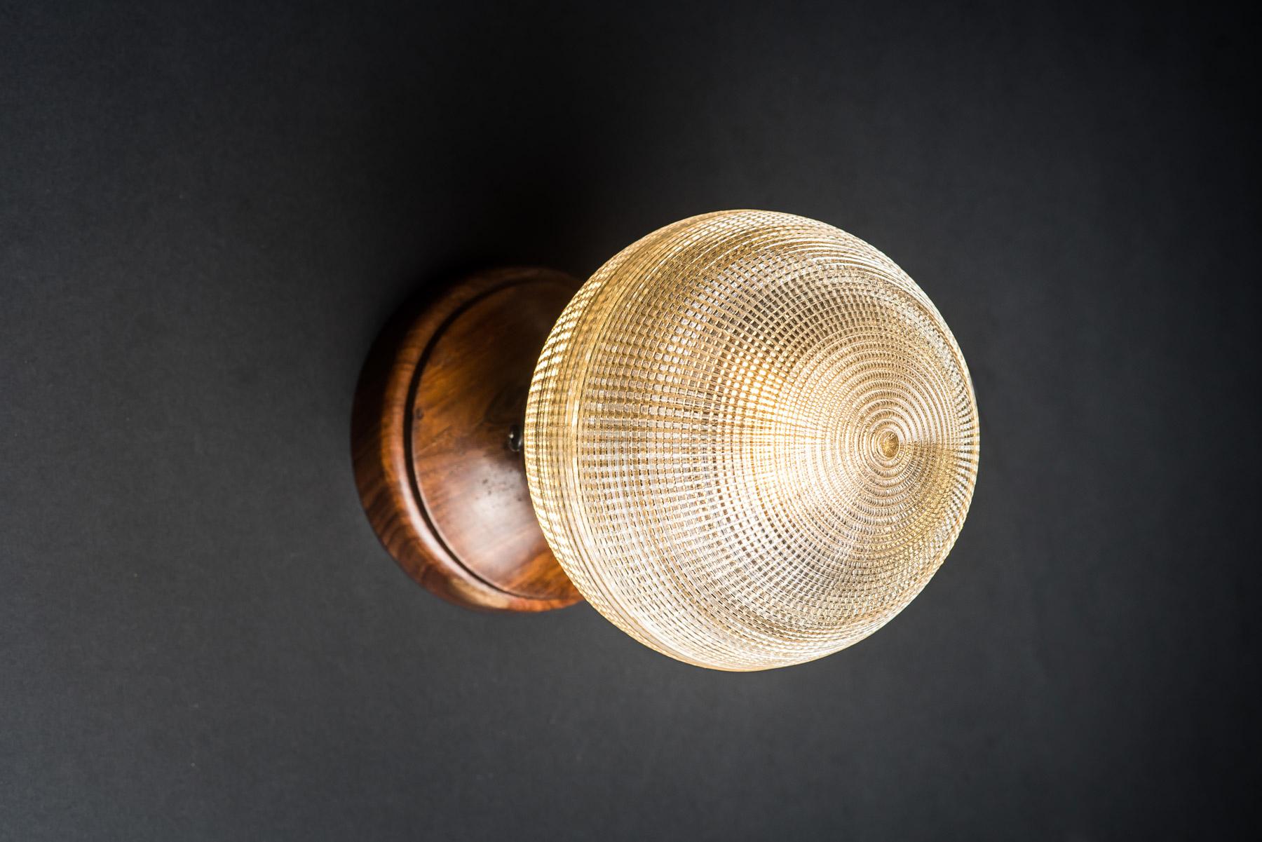 Walnut and Holophane Glass Wall Light
