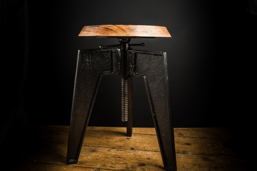 Height Adjustable Cast Iron and Walnut Stool