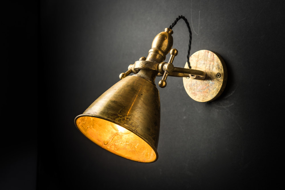 Adjustable Aged Brass Wall Light