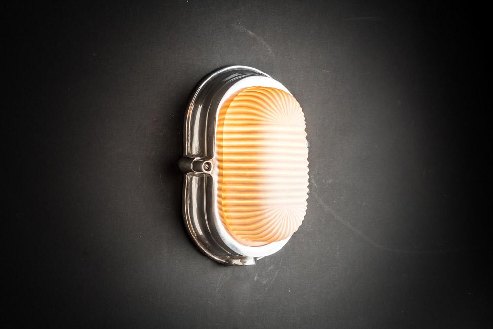 Aluminium and Bone China Bulkhead Light