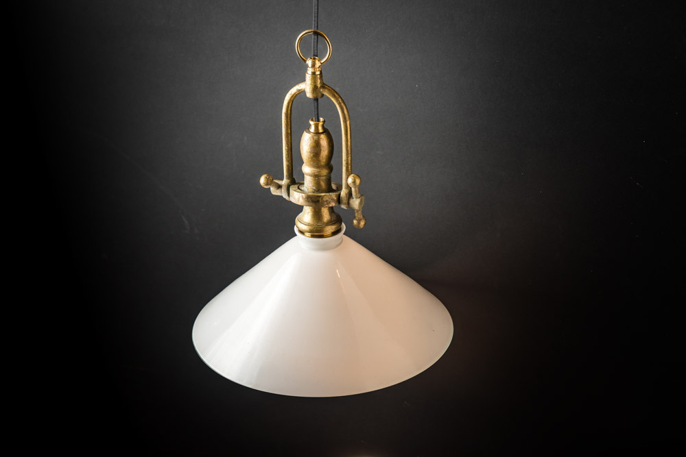 Adjustable Brass and Milk Glass Pendant