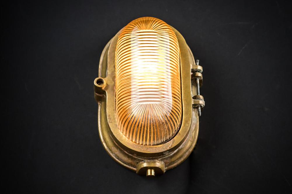 Aged Brass and Bone China Bulkhead Light