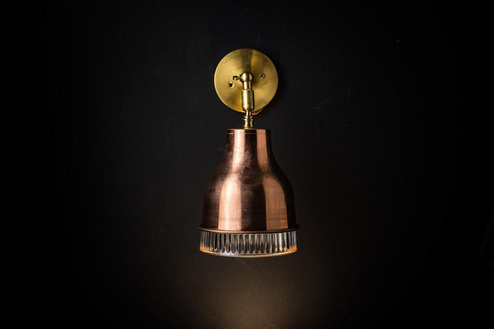 Copper, brass and holophane glass wall light 06.jpg