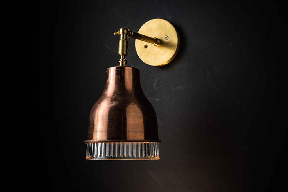 Copper, brass and holophane glass wall light 05.jpg