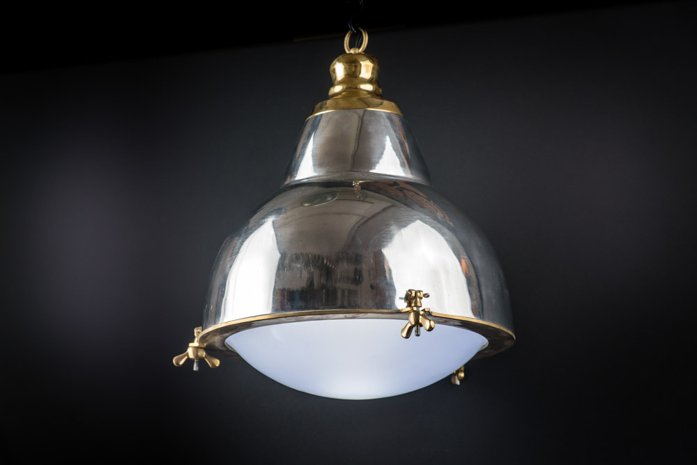 Polished steel and brass French pendant03.jpg
