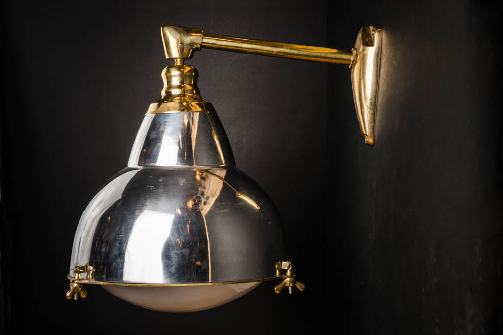 Felix Original Polished Steel and Brass Wall Light