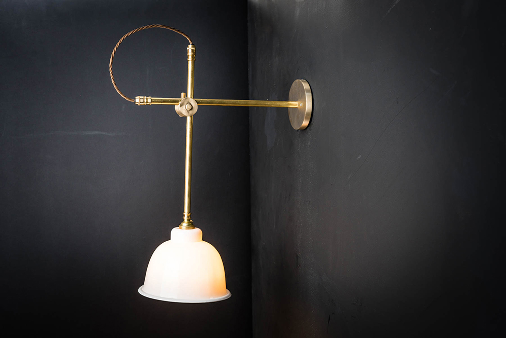 Brass and Bone China Slider Wall Light