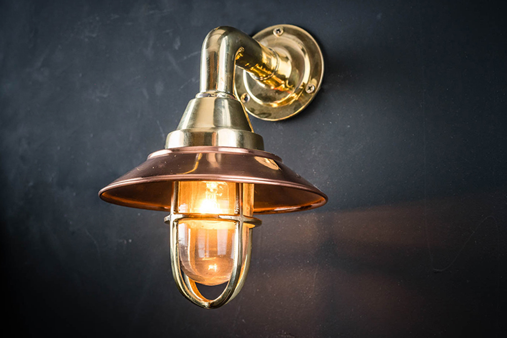 Brass and Copper Shaded Bulkhead Light