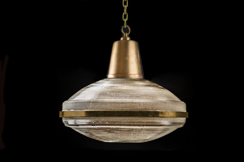 Vintage Holophane Glass and Aluminium Pendant