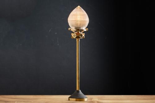 cast iron holophane glass and brass bartop lamp.jpg