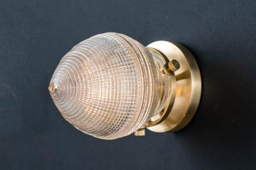 Brass mounted surgical holophane glass wall light 02.jpg