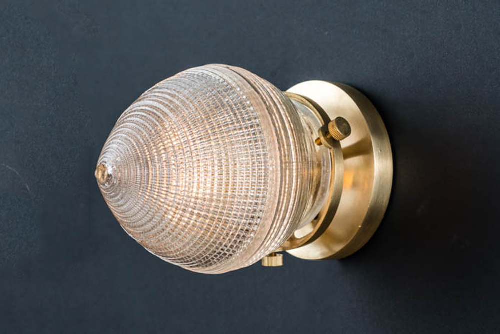 Brass mounted surgical holophane glass wall light 02.jpg