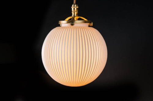 Reeded bone china and brass pendant.jpg