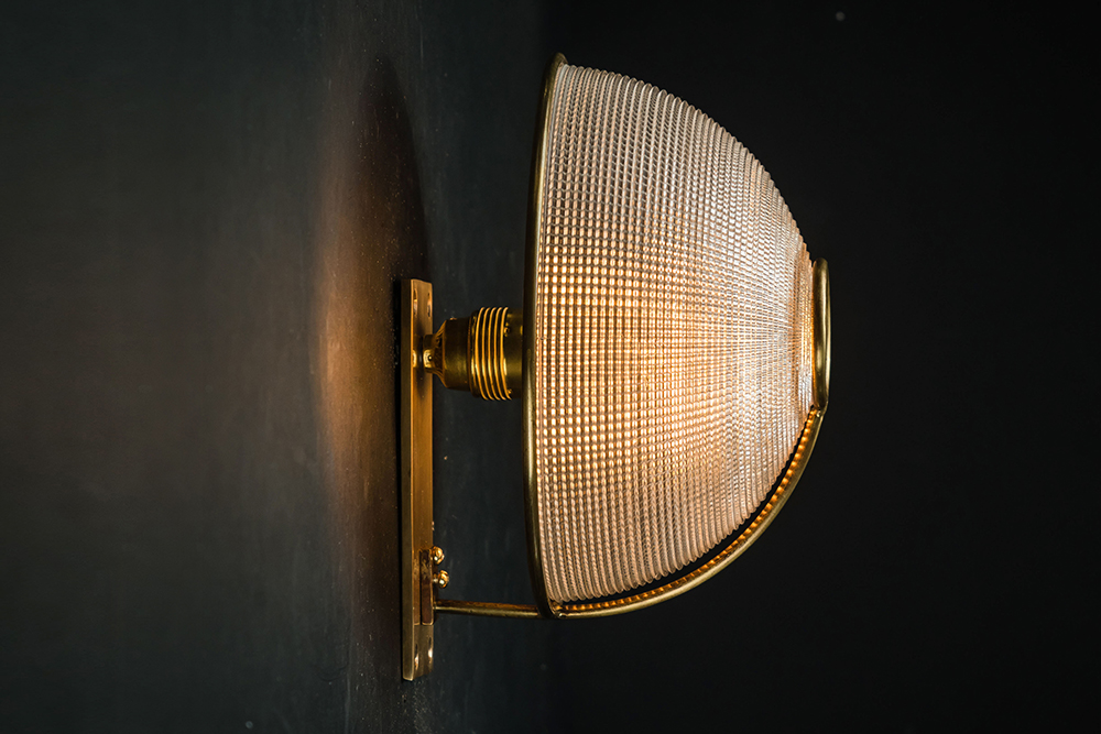 Large brass and holophane glass wall sconce 02.jpg