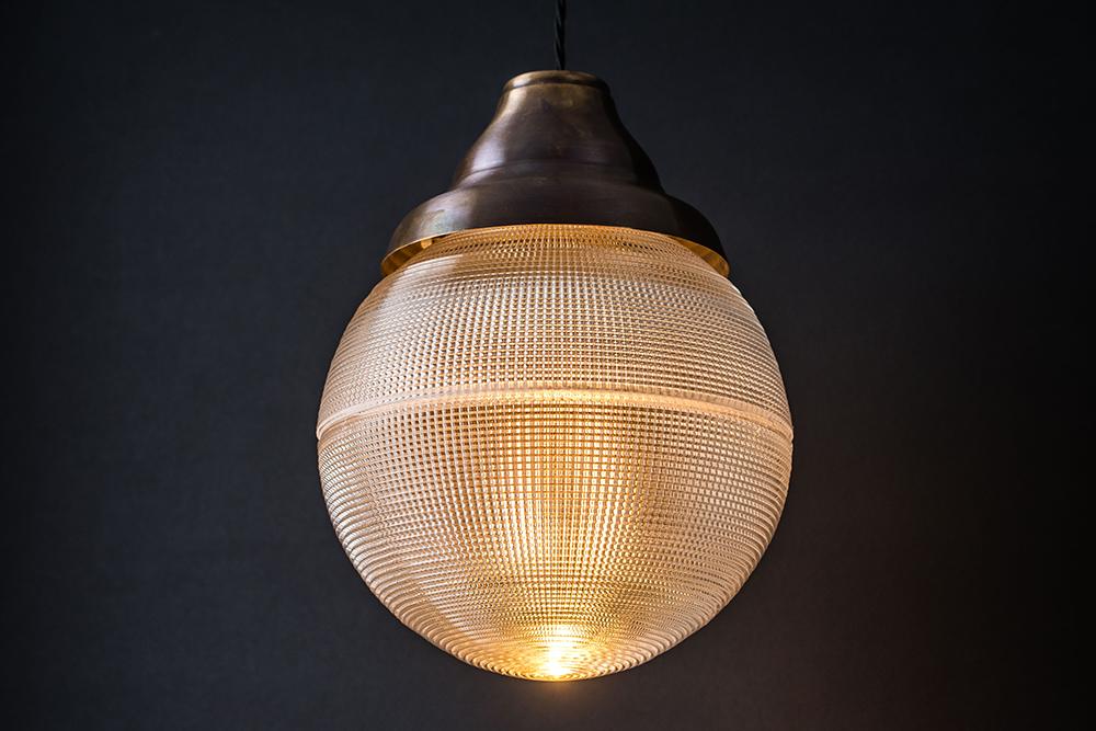 Bronze and Holophane Globe Pendant — Felix Lighting