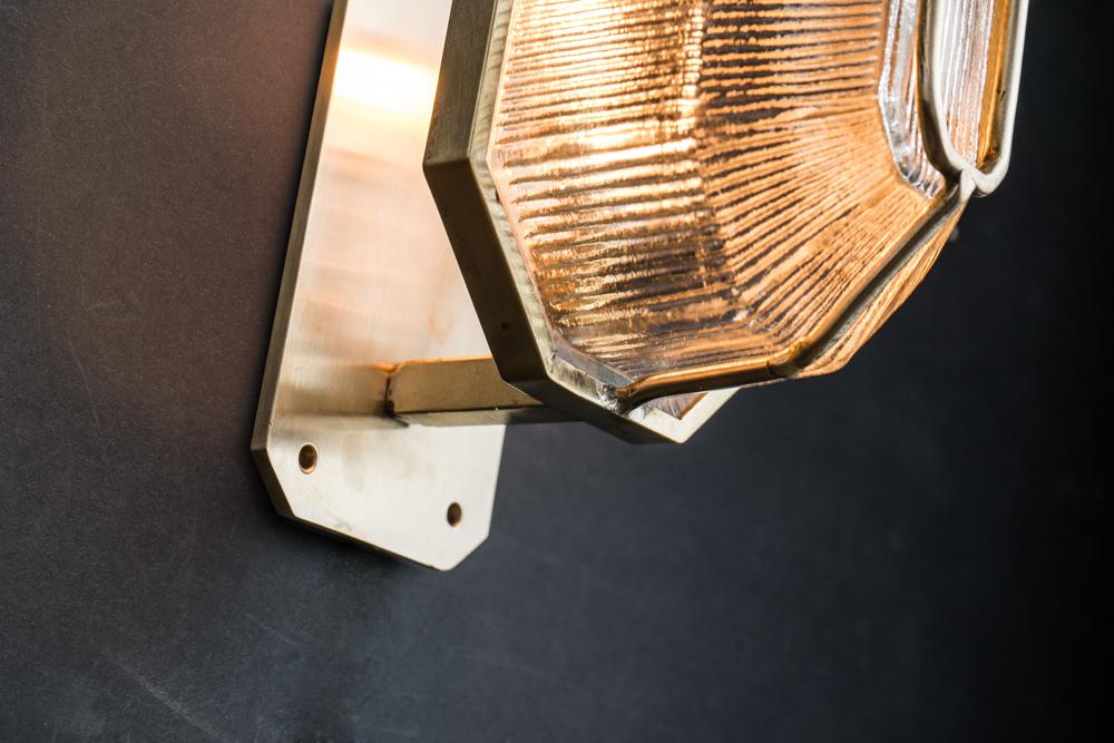 Octagonal prismatic glass and brass wall light 03.jpg