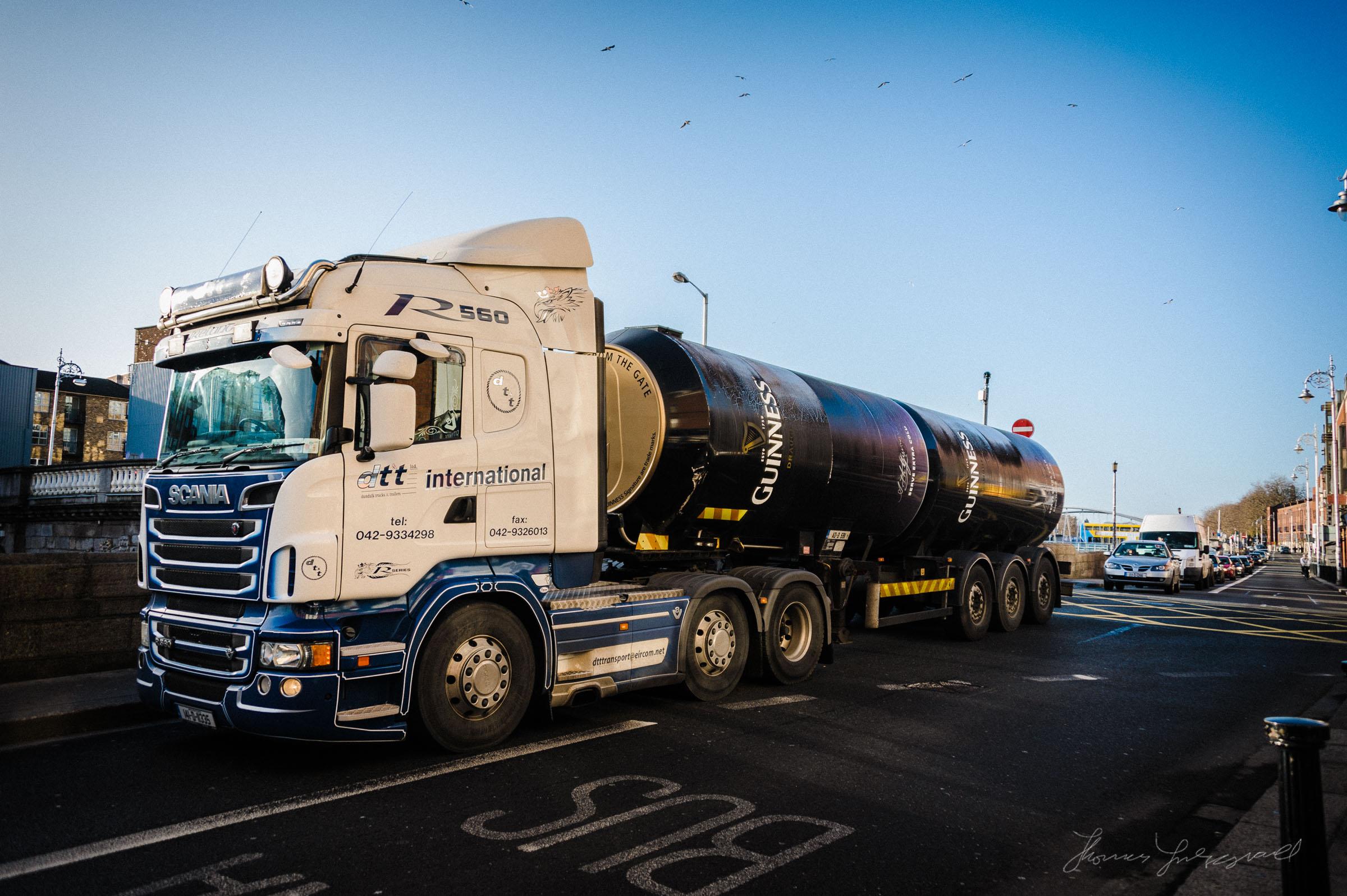 Guinness Truck on the Liffey in Dublin