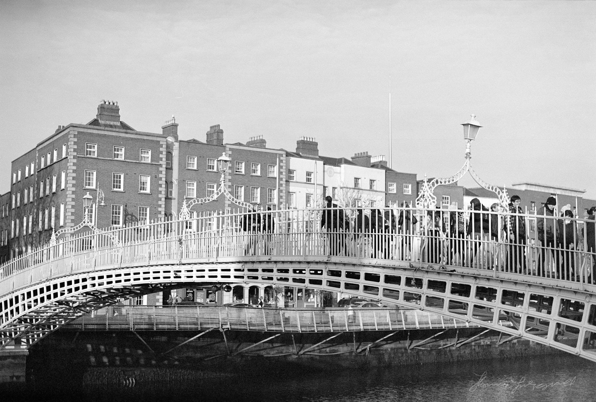 The Ha'penny Bridge Dublin in Black and White - Streets of Dublin