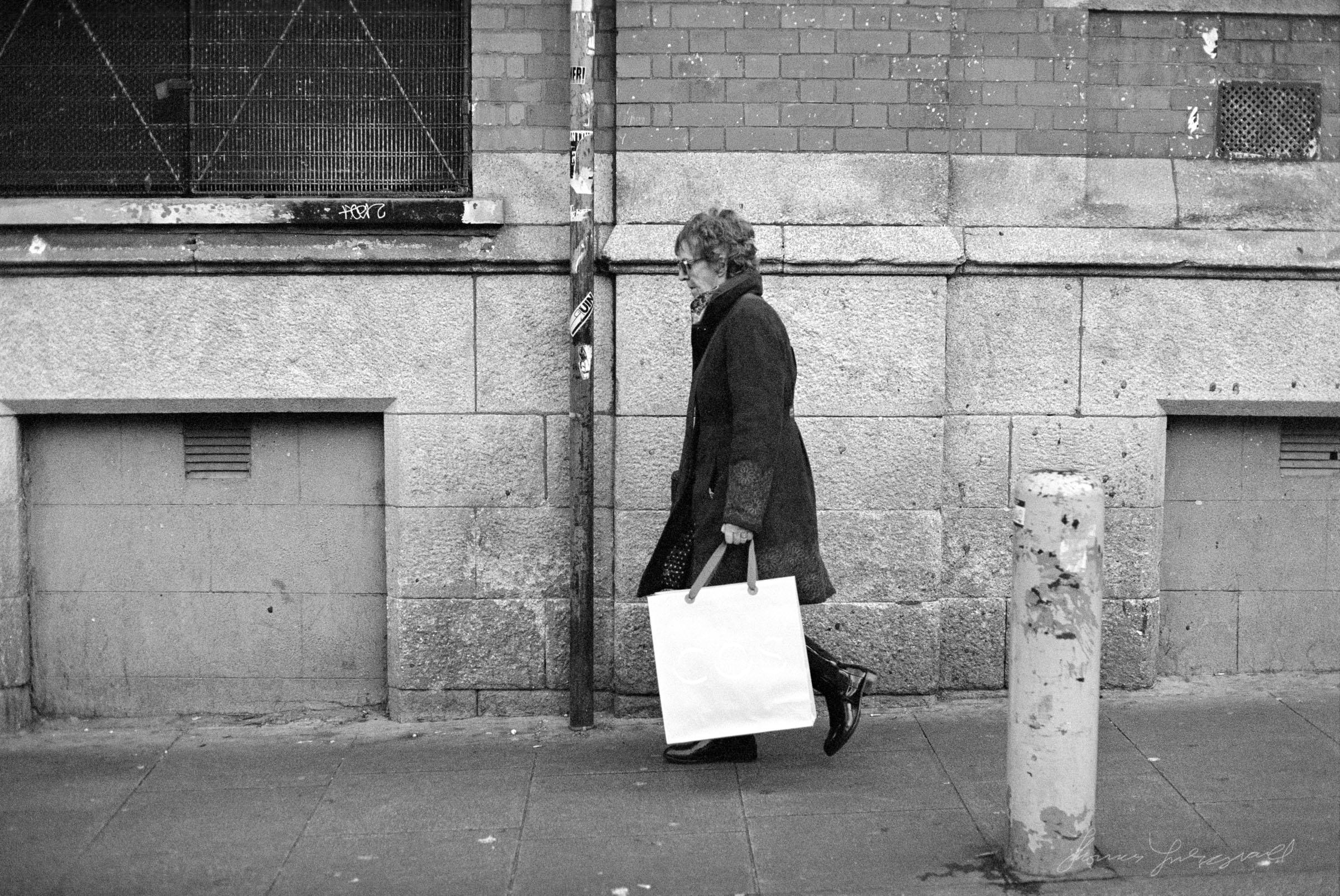 Woman walking through Temple Bar - Dublin on Film - The Streets of Dublin