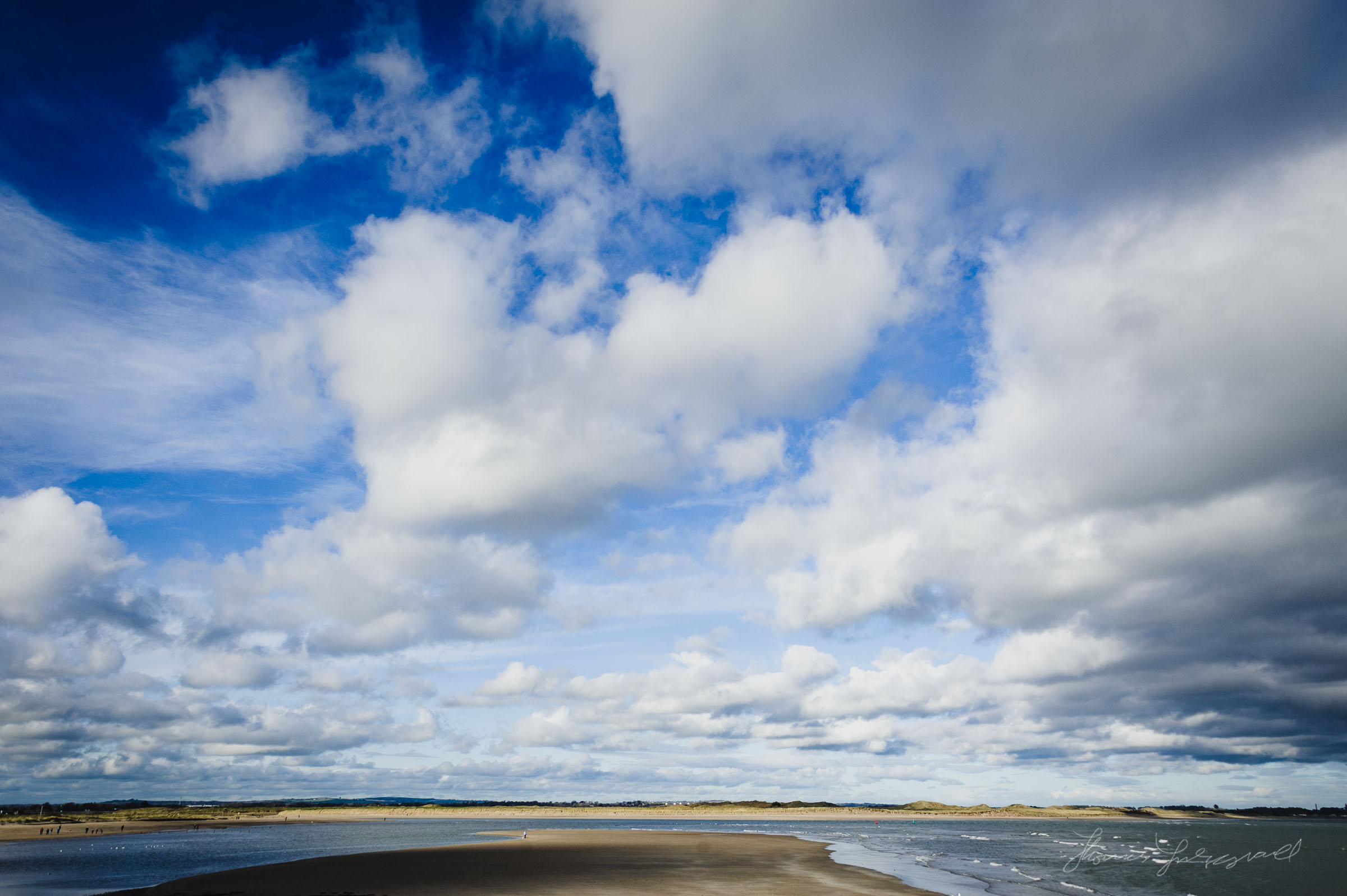 Blue sky over Malahide Beach
