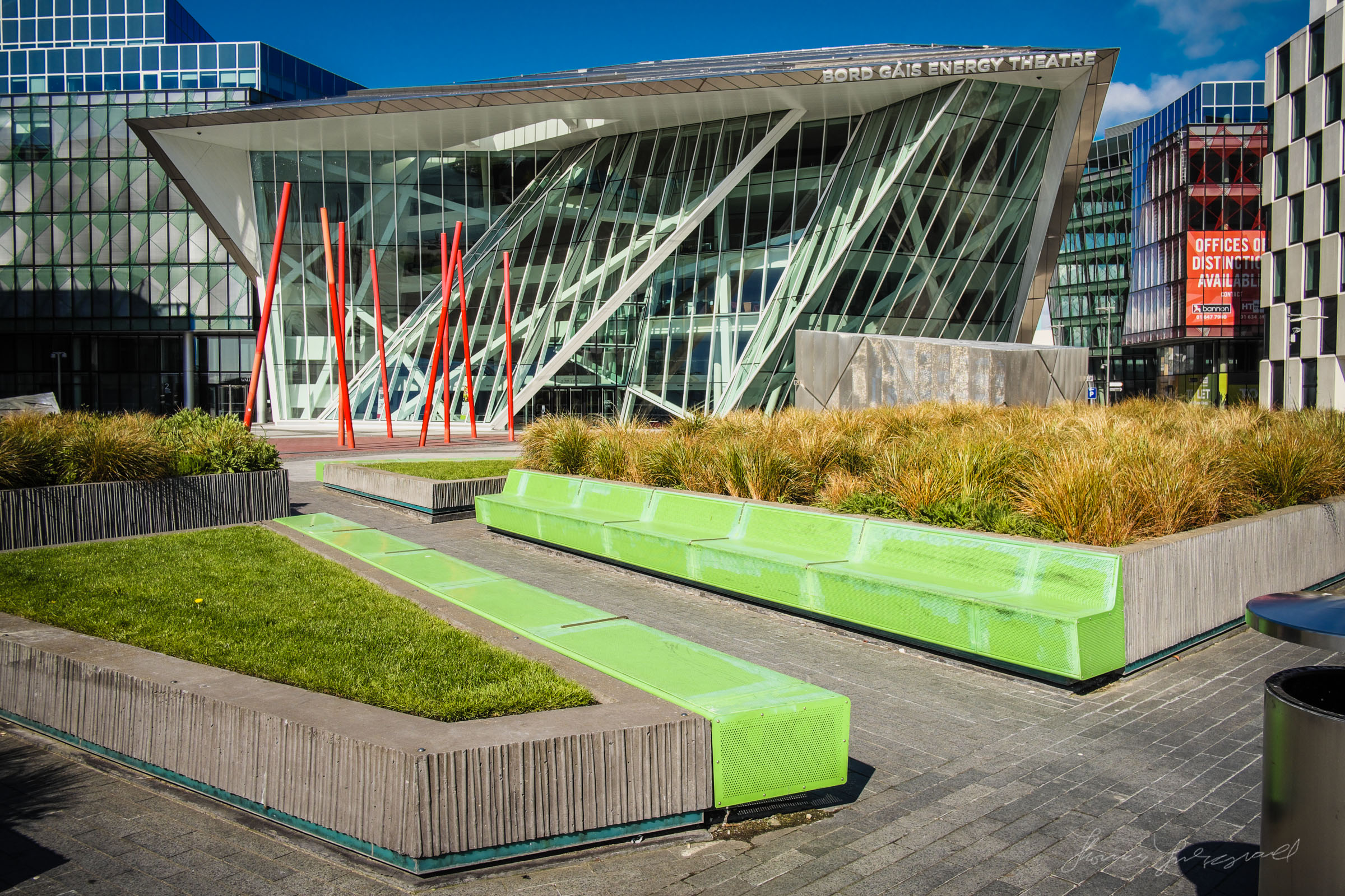 Green Benches in front of the Bord Gáis Energy theatre