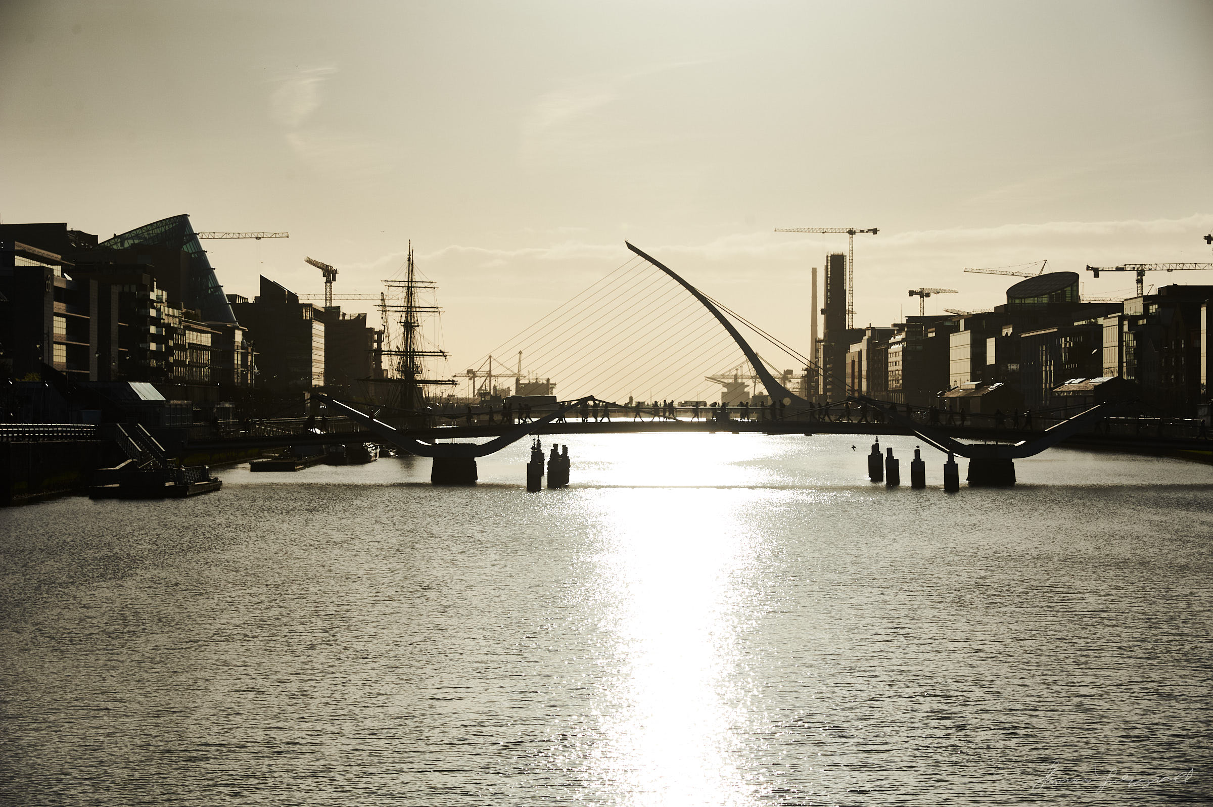 The liffey and bridges in the morning golden light