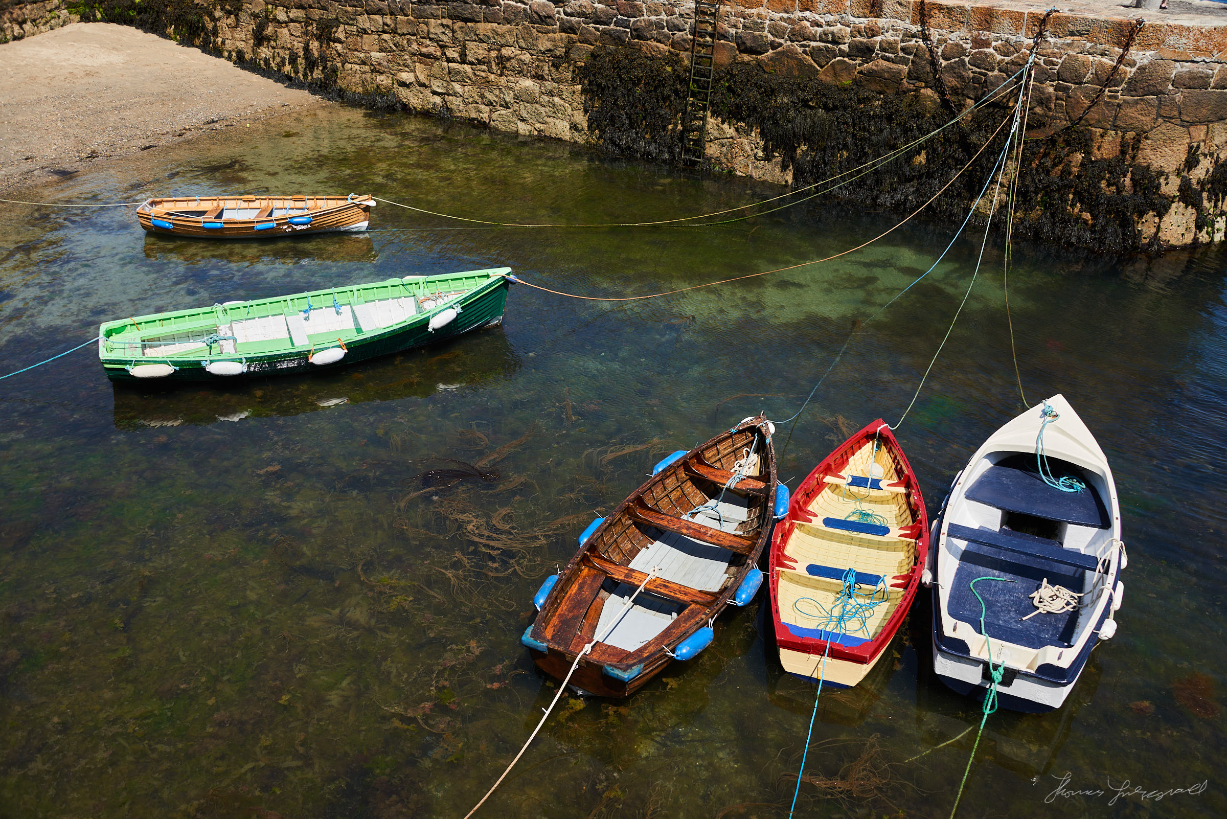 Colourful boats moored in Colliemore Harbour, Dalkey Co. Dublin