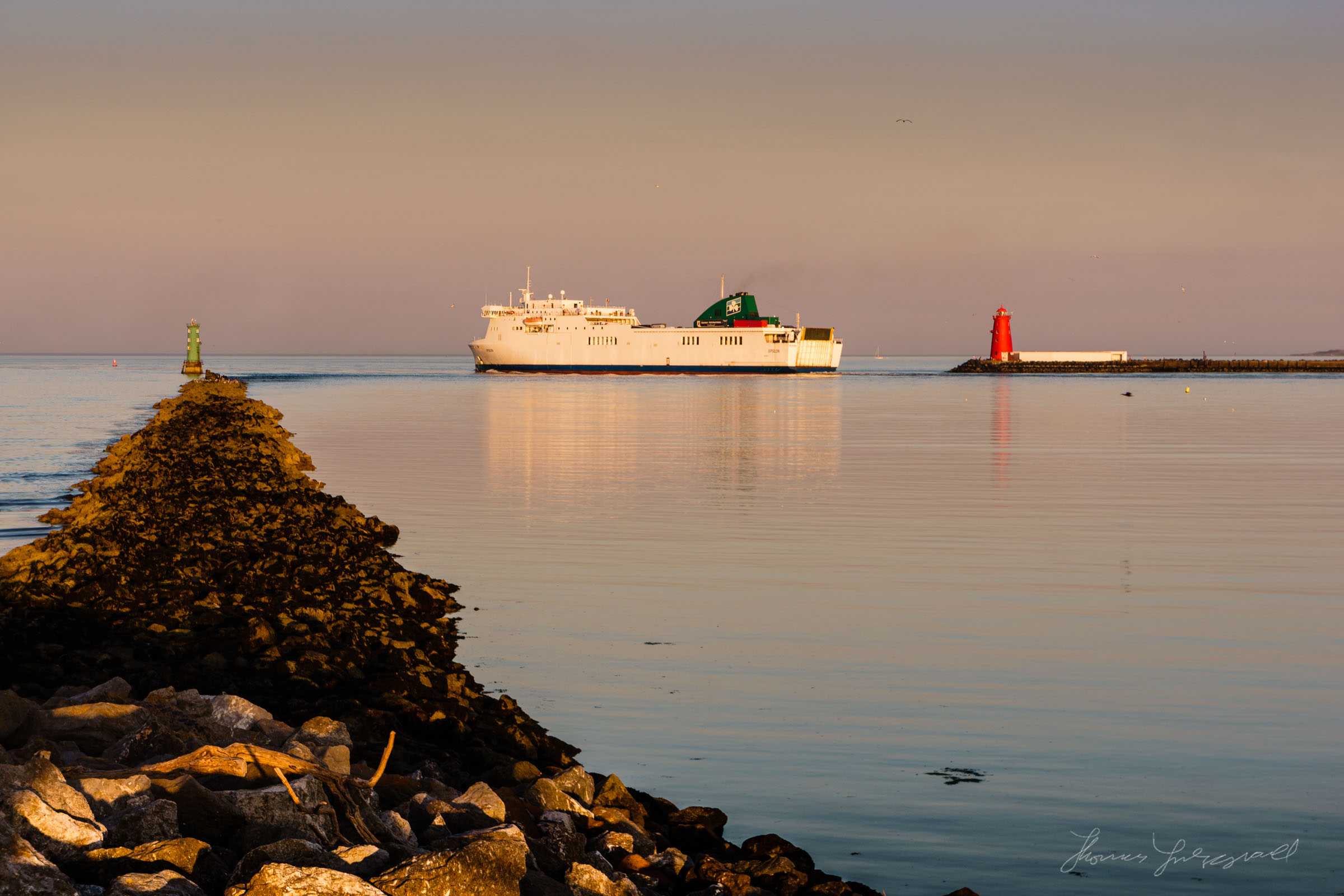 Ferry leaving Dublin Port at Sunset